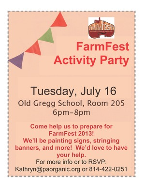 FarmFest Activity Party Sign